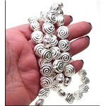 Sterling Silver Plated Spiral Seashell Bead, 14mm (1)