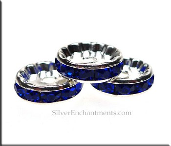 12mm Rondelle Crystal Spacers, SAPPHIRE (10)
