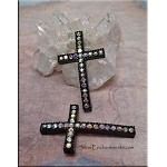 Pave Black Cross Connector with AB Crystals 40x23mm