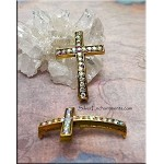Curved Cross Connector with AB Crystals, Antique Gold, 35x24mm
