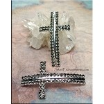 Curved Cross Connector with Black Diamond Crystals, 50x28mm