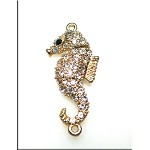 Magnetic Clasp, Sea Horse with Crystals, Gold Plated