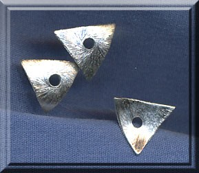 Brushed Sterling Silver Bent Triangle 10mm Bead Cradle Bead Caps (1)