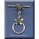 Sterling Silver Round Toggle Clasp with Fancy Star Detailing 15mm