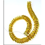 SOLDOUT - Gold Plated Potato Chip Spacer Beads, Bent Disc Beads, 8mm, Strand Bulk