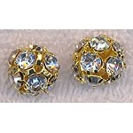 14mm Gold Plated Rhinestone Crystal Ball Bead