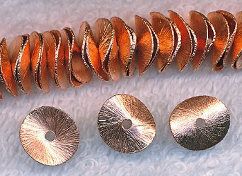 Copper Brushed Potato Chip Spacer Bead 12mm