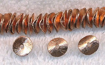 8mm Copper Potato Chip Spacers, Brushed Copper Spacer Beads (10)