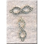 Infinity Symbol with Crystals, Eternity Jewelry Connector 32x10mm