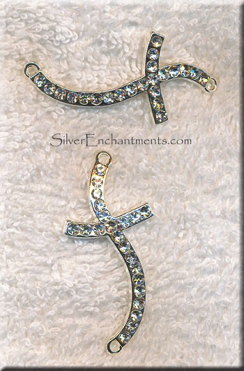 Cross Jewelry Finding with Crystals, Wavy Cross Connector, 48x22mm