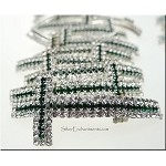 Silver Plated Crystal Cross Bracelet Component, EMERALD
