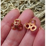 Genuine Copper Bead Caps, 14mm 3 Petal Design of Double Circles (10)