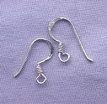 French Ear Hooks with Coil, Sterling Silver Plated (20)