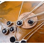Black Onyx Headpins, Sterling Silver and Black Onyx Jewelry Headpins, Gemstone Head Pins (2)
