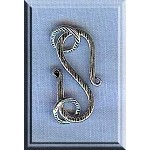 Sterling Silver Textured S-Hook Jewelry Clasp with Rings, 22mm