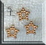 Copper Star Spacer Beads, 7mm (10)