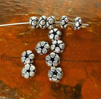 Sterling Silver Blossom Spacers, 3x6.5mm Rondelle Beads