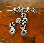 Sterling Silver Spacer Beads, 3x6.5mm Blossom Rondelle (2)