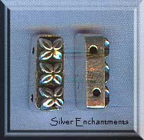 Sterling Silver 2-Strand Separators with Flower Motif (2)