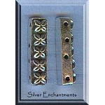 Sterling Silver 4-Strand Separators with Flower Motif (2)