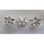 Flower Jewelry Separators, 2-strand, Bright Silver Finish with Crystals, Bulk (10)