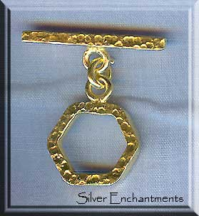 Vermeil Hammered Toggle Clasp