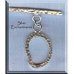 Sterling Silver Teardrop Flame Hammered Toggle Clasp