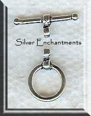 Sterling Silver Round Toggle Clasp with Wrap Detail