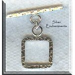 Sterling Silver Square Toggle Clasp, Hammered