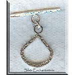 Sterling Silver Teardrop Fan Toggle Clasp, Hammered
