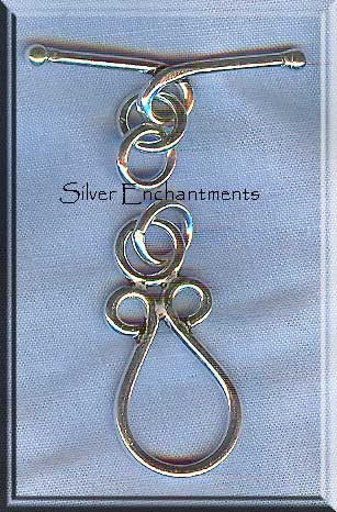 Sterling Silver Teardrop Loop Toggle Clasp