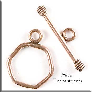 Solid Copper 6-Sided Toggle Clasp