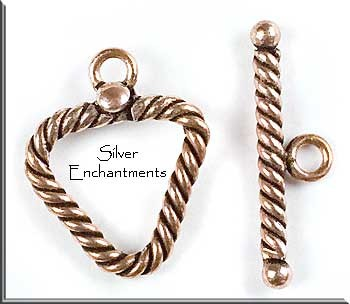 Solid Copper Twisted Triangle Toggle Clasp
