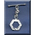 Sterling Silver 6-Sided Gator Print Toggle Clasp, 19x16mm (1)