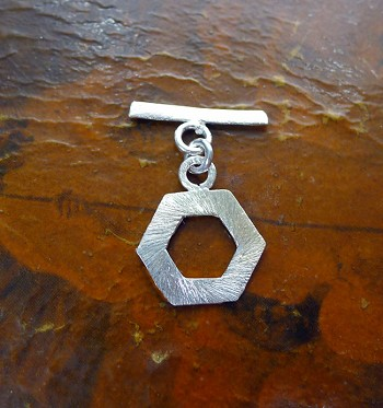Sterling Silver 6-Sided Toggle Clasp with Brushed Finish