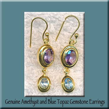Amethyst and Blue Topaz Gemstone Earrings, Gold Vermeil