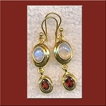 ZSOLD - Garnet and Rainbow Moonstone Gemstone Earrings, Gold Vermeil