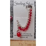 Beaded Chainmaille Earcuff Slave Earring, Sterling Silver Cuff Earring, Red