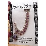 Beaded Chain-maille Earcuff Slave Earring, Sterling Silver Cuff Earring, Purple