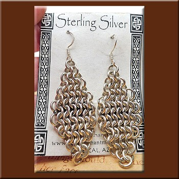 Chainmaille Earrings, Sterling Silver Diamond Chain Maille Earrings, .925 Silver Dangling Elegant Renaissance SCA LARP Jewelry