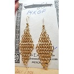 Gold Chainmaille Earrings, 14-karat Gold-Filled Diamond Chain-maille Earrings