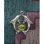 Sterling Silver Dolphin Charm-Pendant with Gemstone - CUSTOM MADE