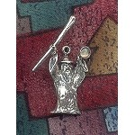 Sterling Silver 3D Wizard with Staff Pendant Wizard Pendant with Gemstone - CUSTOM MADE