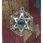 Sterling Silver Victorian Star of David Pendant with Gemstone - CUSTOM MADE