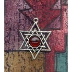 Sterling Silver Woven Star of David Charm with Gemstone - CUSTOM MADE