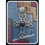 Sterling Silver Celtic Bailed Celtic Cross Pendant with Gemstone - CUSTOM MADE