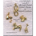Gold Plated Animal Charms and Pendants, Lot of 5, Lot #1, CLOSEOUT
