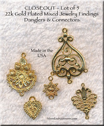 CLOSEOUT 22k Gold Plated Mixed Jewelry Findings, Lot of 5