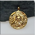 Gold Plated Norse God Pendant, Bailed Medallion