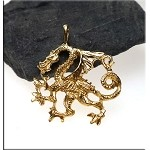 Gold Plated Dragon Pendant, Bailed Guardian Dragon